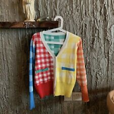 Women Sweater Knitted Coat Jacket Cardigan Rainbow Plaid Outwear Top Casual