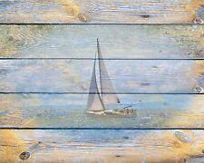 Coastal Wall Art Photo Print Blue Yellow Beach House Home Decor Sailboat Ocean
