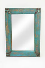 Concho Cross Rustic Mirror-Turquoise--Mexican-15x20-Clavos-Primitive-Wooden