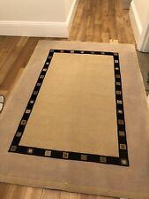 John Lewis 100% Wool Rug 195cm x 140cm - Beige With Black Design (Used)