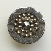 Bouton ancien - Acier poli / clous d'acier - 27mm - Cut Steel Button +1 in.