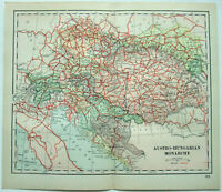 Original 1895 Map of Austria Hungary by Dodd Mead & Company. Antique