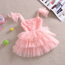 Girls Pink Rosette Tulle Occasion Party Dress Size 4 years NEW