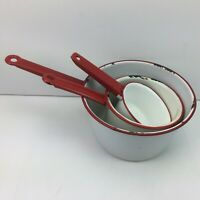 Vintage Enamel White Red Trim Pots Pans Set 3 Farmhouse Style Cookware