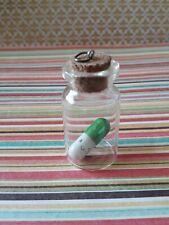 Metallic Green Happy Pill Bottle Charm hand made*