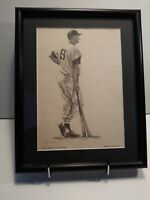 TED WILLIAMS print by Robert Riger - circa 1957 - Sports Illy - RARE - framed