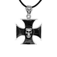 Iron Cross Skull Black Enamel Biker Pendant Necklace Solid Sterling Silver  USA