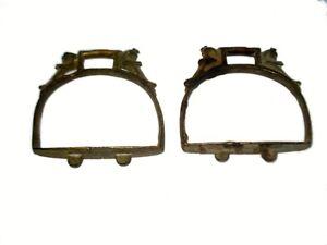 Original Vintage Pair Of Parrot Figural Horse Stirrups Footrest Saddle.G42-18 US