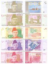 Pakistan 5 + 10 + 20 + 50 + 100 Rupees Set of 5 Banknotes 5 PCS UNC