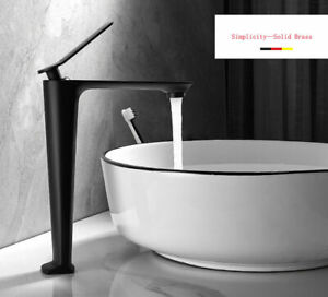 Matt Black Solid Brass Tall Basin Tap Sink Mixer Simplicity Bathroom Faucet WELS