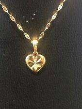 22K 22ct Gold Filled Choker Chain Necklace With Heart Pendant 35cms Stamped