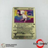 Carte Pokemon Mew GX EX Gold Fan Made Custom Metal Card Rare Mewtwo