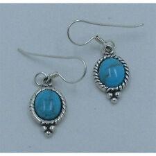 PETITE .925 Sterling Silver Natural Sky Blue Kingman Turquoise Dangle Earrings