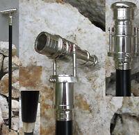Spazierstock mit Teleskop Silber Fernrohr Schau ins Land Flanierstock Gehstock