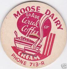 MILK BOTTLE CAP. MOOSE DAIRY. ALBEMARLE, NC.