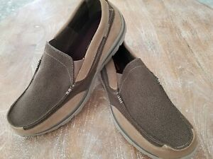 Skechers Brown Taupe Canvas Memory Foam Extra Wide Fit Slip On Shoe Sz 16