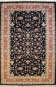 Rugstc 5x8 Senneh Pak Persian Black Area Rug, Hand-Knotted,Floral with Wool Pile