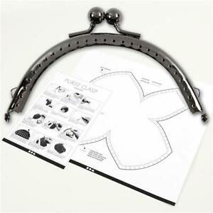 Antique Silver Metallic Curved Purse Clasp Kit With Sewing Holes Bag Accessories
