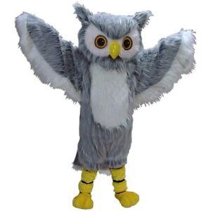 Big Blue Owl Mascot Costume Party Animal Unisex Fancy Dress Adults Suit Clothing