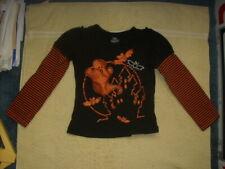 girls long sleeve Halloween shirt XS 4/5 100% cotton black and orange ghost