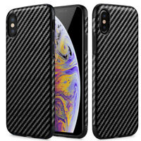 For Apple iPhone XS Max/XS/XR Carbon Fiber Phone Case Cover+Clear Tempered Glass