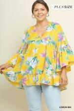NWT Umgee Plus Size Lemon Tropical Floral Print Babydoll Top