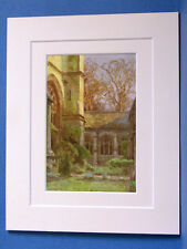 WINCHESTER COLLEGE CLOISTERS HAMPSHIRE VINTAGE DOUBLE MOUNTED HASLEHUST PRINT