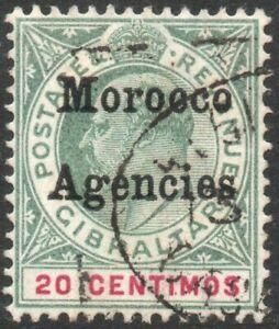 MOROCCO AGENCIES-1904 20c Grey-Green & Carmine Sg 19 GOOD USED V47097