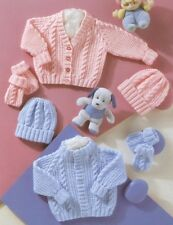 b5abafbc8aa41 Baby Toddler Knitting Pattern copy 8 Ply Cardigans Hats Including PREMMIE  size