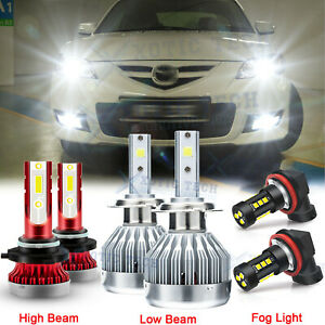 For Mazda 3 2004 2005 2006 Mazda3 LED Headlight 9005 H7 Bulbs + H11 Fog Light 6x