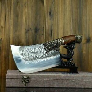 Handmade Kitchen Butcher Knife Carbon Forged Steel Full Tang Chef Chopper Knife