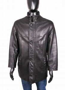 Pierre Cardin Mens Leather Jacket Classic Black size 48