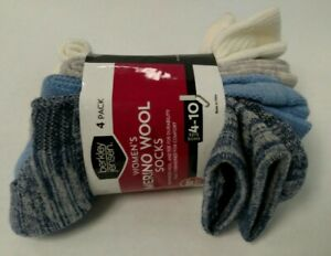 4 PAIR Multi-color 51% MERINO WOOL Blend Socks Womens shoe size 4-10