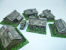 6 unpainted resin Russian houses, 6mm wargames, 1/300th and 1/285th scale
