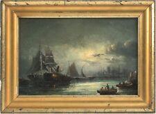 MARINE MOONLIT HARBOR SCENE 19th Century ANTIQUE OIL PAINTING CONTINENTAL SCHOOL