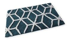 Geometric Teal Cotton Bath Mat 55 x 85cm