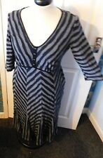 PER UNA Black & Grey Diagonal Stripe Long Sleeve Dress Size UK 16 M
