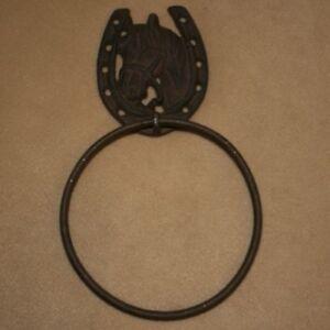 Cast Iron Horse Horseshoe Towel Ring Hook Holder