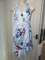 BNWT UK 14 LIPSY VIP Dress High V Neck Blue Floral Pattern Midi Frill Wedding