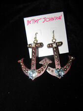 Betsey Johnson Goldtone Anchors Away Brown Wood Anchor Drop Earrings BL 44
