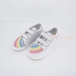 No Box Vans Toddler Old Skool V Shoes Flour Shop Leather Rainbow White Size 9.5C