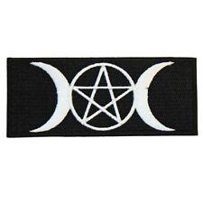Pentagram & Moons Iron On Patch Crescent Triple Moon Gothic Pagan Satan Mystic