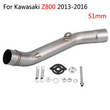 51mm Motorcycle Slip on Exhaust Muffler Middle Pipe Link For Kawasaki Z800 13-16