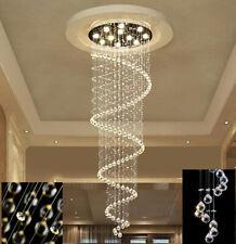 Led Crystal Spiral Chandelier Villa Restaurant Rain Drop Ceiling Light 3Colour