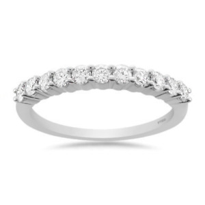 1/2 CT TDW, Prong-Set Wedding Band Ring in Platinum, Diamond Halo