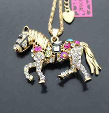 617   Betsey Johnson Bling Crystal Enamel Horse Pendant Sweater Chain Necklace