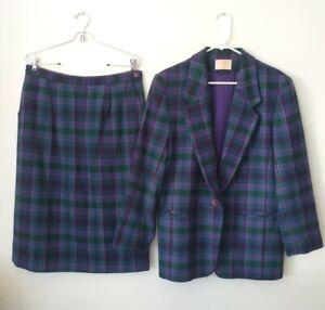 Vintage~Pendleton~Womens~Purple~Green~Plaid~Virgin Wool~Skirt~Suit~Size 14