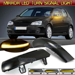LED Rear View Mirror Sequential Turn Signal Light  For VW Golf 5 MK5 5/6 Plus