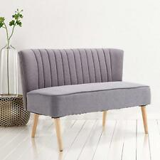 Mid Century Modern Sofa 2 Seater Fabric Loveseat Small Double Sofa Two Seat Grey