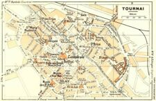 BELGIUM. Tournai 1953 old vintage map plan chart